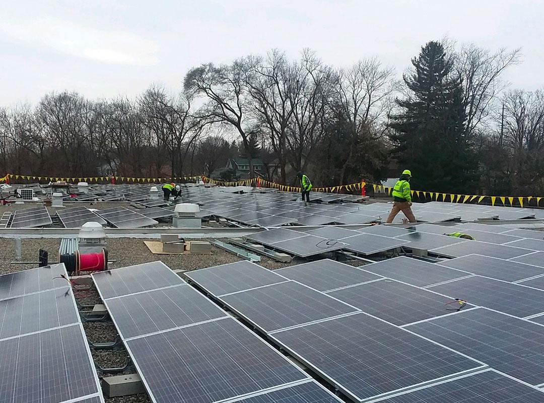 Flushing School Solar Array Construction