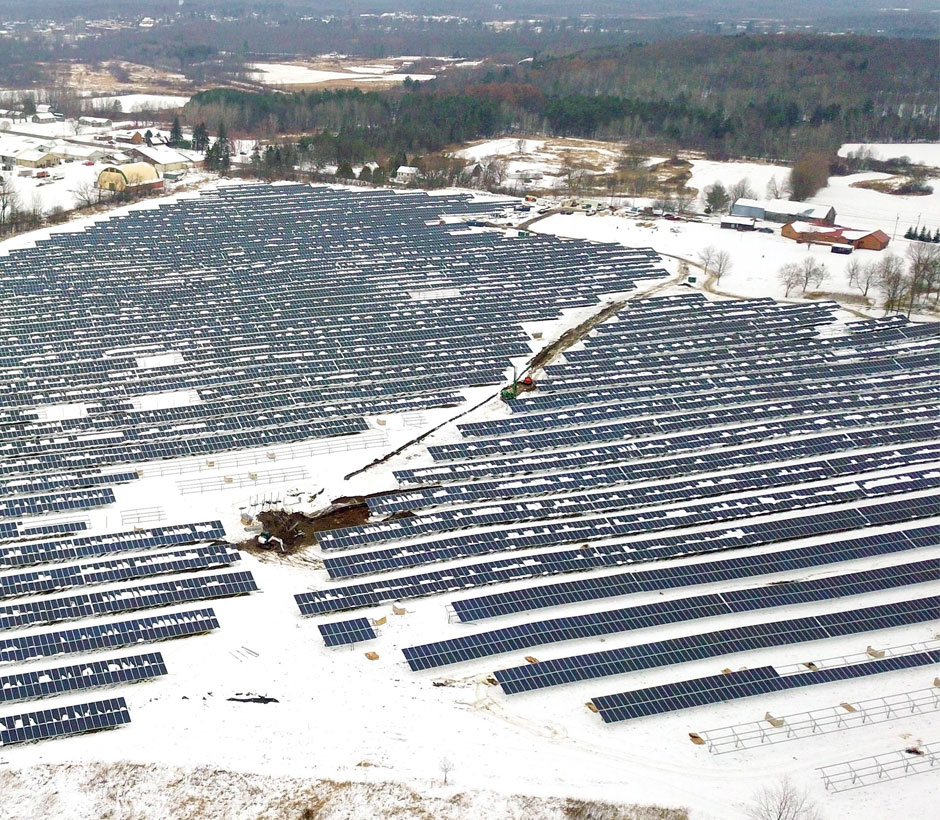 Denmark Solar Panels Snow